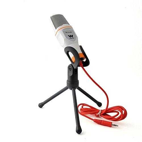 Woxter Mic Studio White - Micrófono Condensador Profesional Para Ordenador, Grabar, Jugar, Conversar o Cantar por Internet. Entrada. 3.5Mm, Trípode Ajustable en Inclinación V/H, Blanco