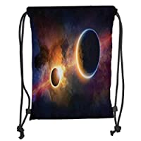 GONIESA Drawstring Sack Backpacks Bags,Outer Space Decor,Planet in Milky Way Dark Nebula Gas Cloud Celestial Solar Eclipse Galaxy Theme,Multi Soft Satin,5 Liter Capacity,Adjustable String Closu