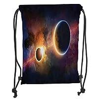 GONIESA Drawstring Sack Backpacks Bags,Outer Space Decor,Planet in Milky Way Dark Nebula Gas Cloud Celestial Solar Eclipse Galaxy Theme,Multi Soft Satin,5 Liter Capacity,Adjustable String Closu