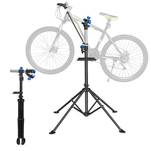 Yaheetech Fahrradmontageständer 30 kg Belastbar, Reparaturständer 360 Grad Drebar, Klappbar und Höhenverstellbar, mit magnetischer Werkzeugschale