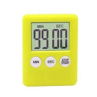 Soulitem LCD Digital Pantalla Temporizador Cocina Cuadrado de Cocina Cuenta Regresiva Alarma Imán Reloj – Amarillo