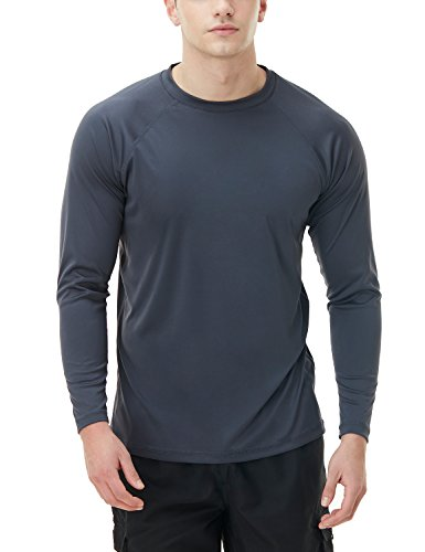 TSLA Herren UPF 50 + schwimm Shirt Loose-Fit schwimm Langarm T-Shirt Rashguard Top, Basic Sun Block(mss03) - Charcoal, Large (Herren Loose Fit Rash Guard-shirt)