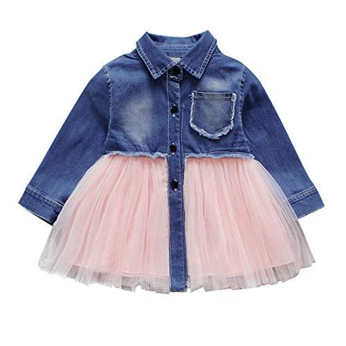 f93178377 Mitlfuny Primavera Verano Niñas Bebé Princesa Vestidos Manga Larga Cosiendo  Vestido de Mezclilla Bautizo Tul Tutú