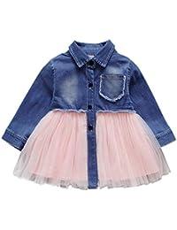 Mitlfuny Primavera Verano Niñas Bebé Princesa Vestidos Manga Larga Cosiendo Vestido de Mezclilla Bautizo Tul Tutú