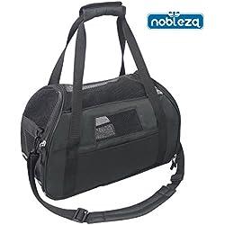 Nobleza 030149 - Bolso transportín de tela oxford para perros, gatos o animales pequeños. Grande, Color Negro Largo 48 cm