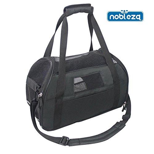 Nobleza 030101 - Bolso transportín de tela oxford para perros, gatos o animales pequeños. Mediano, Color Negro Largo 43 cm
