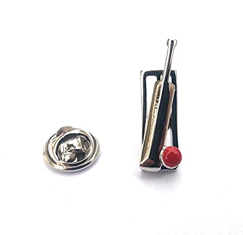 Novelty Cricket Bat, Stumps & Ball Lapel Pin & Gift Box In Polished Stainless Steel & Red Enamel By Onyx Art - LP750