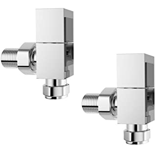 The Home Store Luxury Modern Square Deluxe Chrome Contemporary Angled Heated Towel Rail Radiator Valves