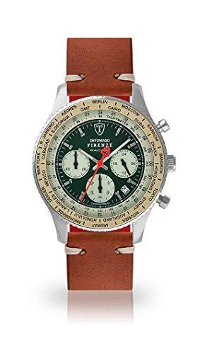 DETOMASO Firenze Montre pour Hommes Montre analogique Chronographe Quartz Brun Bracelet Cuir Vintage Cadran Vert DT1069-B-786