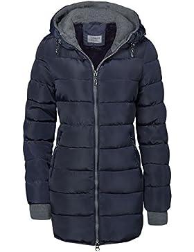 Abrigo acolchado largo, forrado y con capucha, mangas con orificios para el pulgar