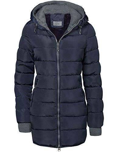 Abrigo acolchado largo, forrado y con capucha, mangas con orificios para el...