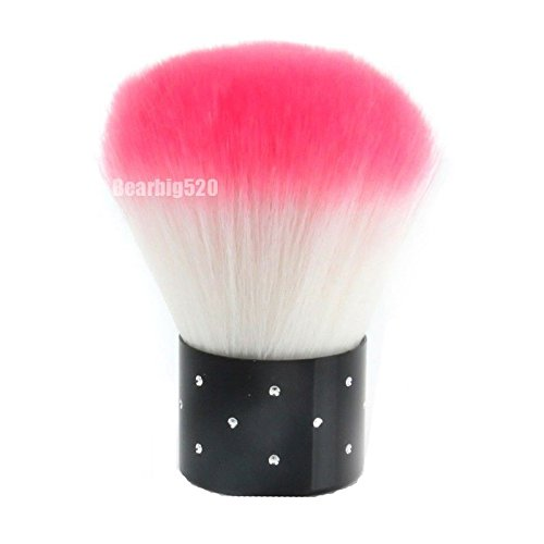 Mini cosmétique strass Nail Art pour la poussière Pinceau Visage, rose et blanc