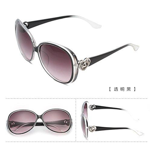rundes gesicht, koreanische persönlichkeit, star - brillen, sonnenbrillen, frauen flut sonnenbrille, damen retro - augen, neue runde,transparentes schwarz (tuch)