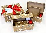 Premium set regalo di natale in cartone ondulato con 5dimensioni diverse scatole regalo, rosso nastro per pacchi regalo satinato e biglietto (12pezzi)