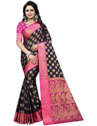 INDIAN BEAUTIFUL WOMEN'S ETHNIC WEAR COTTON SILK NAVY BLUE COLOUR SAREE. (MAYURI NAVY BLUE)