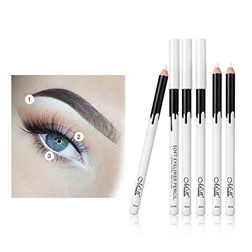 About Love 12PC Blanc Eyeliner Crayon Eye Liner Imperméable À L'eau Durable Oeil Éclaircir,cosmétique scintillement Matte ombre palettes Eye maquillage ensemble par (Blanc)