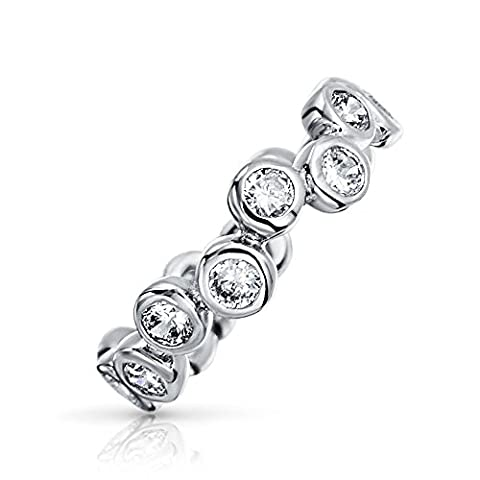 Bling Jewelry Sterling Silber 925 CZ Bubble Band Ring (Stapelbare Zirkonia Band)