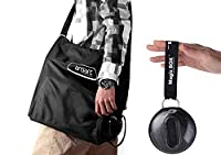 Chekue Magic Folding Bag - Nylon Crossbody Shopping Tote Bag, Black
