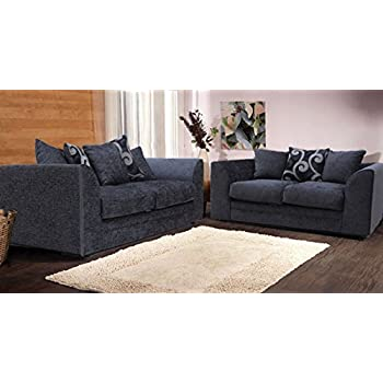 New alexa chenille sofa set with scatter cushions grey and for 9 seater sofa set