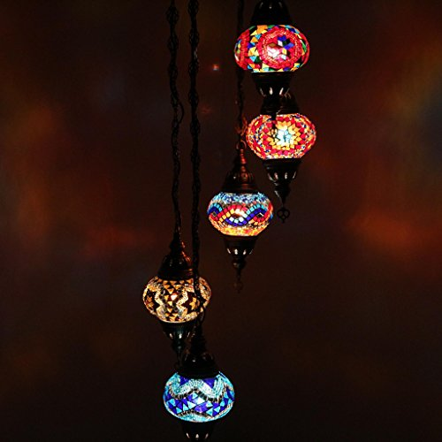 Multicolor Handmade Turkish Moroccan Style Mosaic Hanging Lamp Helix Chandelier with 5 Medium Size Globes