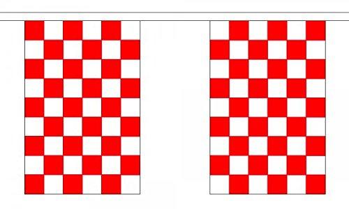 Carreaux Rouge et Blanc à carreaux Polyester Drapeau fanions 3 m (10 ') Guirlande de fanions avec 10 drapeaux