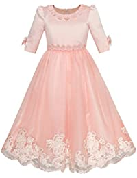 1dcb0970972d Sunny Fashion Vestito Bambina Fiore metà Manicotto Pizzo Nozze Festa  Pageant 5-12 Anni