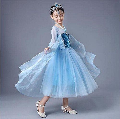 essin Elsa-Kostüm mit Ärmel Kleid Cosplay Halloween Kindergeburtstag Fancy Kleid, weiß (2t Princess Halloween Kostüme)
