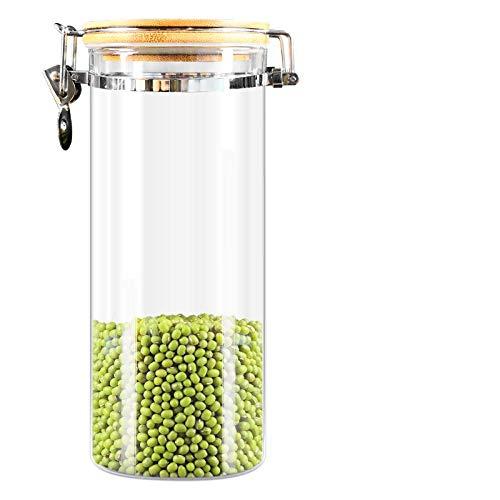 LYEXO Klarglas Gläser Luftdichten Kanister Küche Vorratsbehälter Für Süßigkeiten, Keks, Reis, Zucker, Mehl 2Pcs @ A_1560Ml (Kanister-sets Küche Gelb)