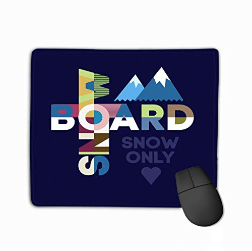 Family Mouse Pad,Standard Size Rectangle Non-Slip Rubber Mousepad 11.81 X 9.84 Inch Snowboard Typography Design Abstract -