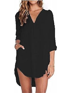 ZANZEA Mujeres Camisa Elegante Blusa Mangas Largas Camiseta Chiffón Bolsillo Escote V