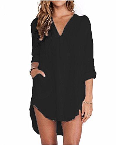 Zanzea Chemise Femme a Carreaux Robe Tunique Femme Longue Grande Taille Shirt Femme Chic Manche Longue col V,Noir,EU 44/US 12 UK 16 (XL)