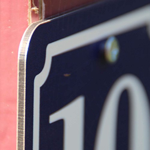 Hausnummer Schild 2mm Aluverbund, blau 10×10 cm, für Zaun, Gartentor, Tür - 2