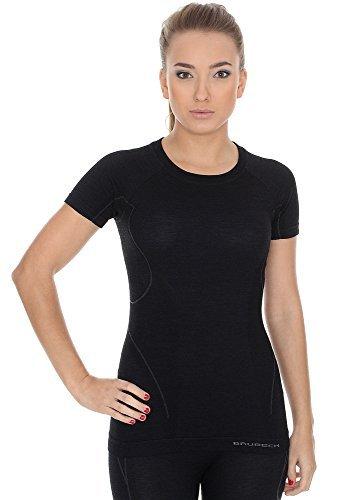 Brubeck ss11700Active Wool T-shirt pour femme Fonction (Mérinos de Sport Fitness unterhemd linge) noir