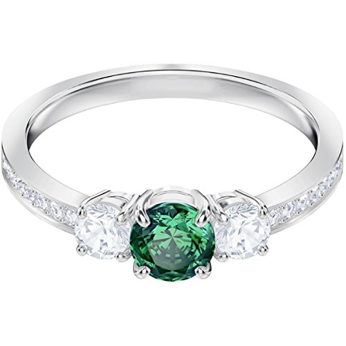 Swarovski 5448893 Anello Attract Trilogy Round, Verde, Placcatura Rodio