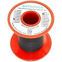 Bntechgo® 24gauge silicone Wire 50Feet nero morbido e flessibile 24AWG silicone resistente alle alte temperature altamente efficiente 40fili di filo di rame stagnato