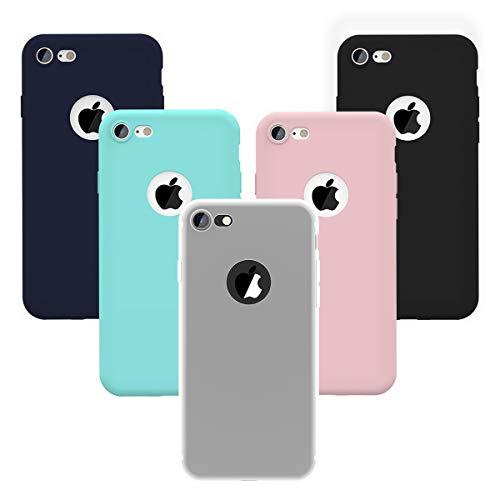 Yokata Kompatibel mit iPhone 7 / iPhone 8 Hülle Handyhülle Schutzhülle, Matte Weich Silikon Case TPU Slim Dünn Soft Flexibel Kratzfest Stoßfest [5 Pack] - Grün, Transparent, Schwarz, Navy blau, Rosa -