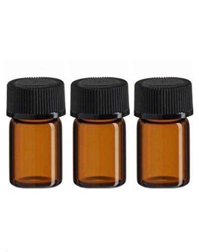 10PCS 2ml Bernsteinfarbige wesentliche öl-Flasche mit Orifice Reducer und schwarze Kappe - Fit Reducer