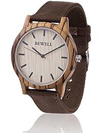 Reloj de madera ZEITHOLZ / Bewell REINSBERG / Caja de madera de cebra 100% / product natural / peso pluma / hipoalergénico / sostenible / fácil de usar/ pulsera de lona