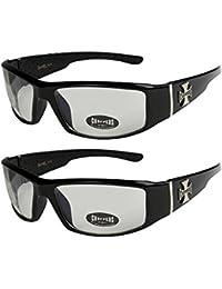 2er Pack Choppers 6608 X11 Sonnenbrillen Motorradbrille Sportbrille Radbrille in den Farben schwarz, anthrazit, silber und weiß