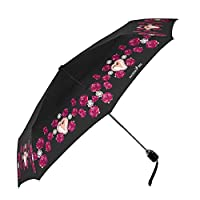 PERLETTI - Folding Ladies Umbrella - Compact Foldable Brolly for Women - Chic Elegant Round Shape Handle with Rhinestone - Roses Hearts Prints - Automatic Open Close - Black