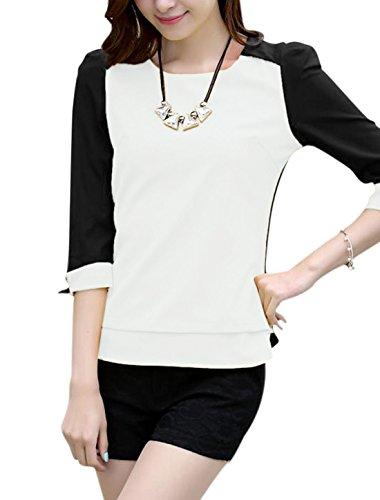 Damen Patchwork Reißverschluss Rücken 3/4 Kontrast Ärmel Chiffon Bluse Weiß