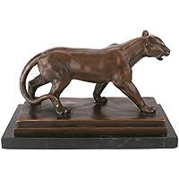 Jaguar Scultura in bronzo su base in marmo