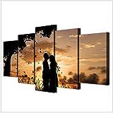 Toile Wall Art Pictures Home Decor 5 pièces sous l'arbre quelques couchers de soleil ombres peintures de paysages HD affiches imprimées - 30x40 30x60 30x80cm (pas de cadre)