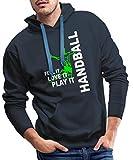 Handball Feel It Love It Play It Sweat-Shirt à Capuche Premium pour Hommes, S, Marine