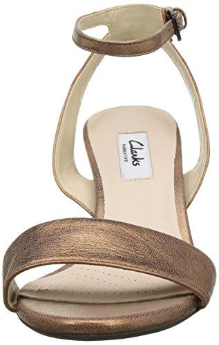 Clarks Damen Amali Jewel Knöchelriemchen Sandalen mit Keilabsatz Braun  (Bronze Leather)