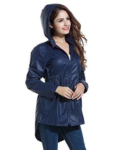 Meaneor Damen Regenjacke Gr. Small, 3_Navy Blue (Navy Blue Raincoat)