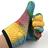 JIALUN-Handschuhe Hitzebeständige BBQ-Kochhandschuhe - Ofenhandschuhe Isoliertes Silikon für BBQ-Grill, Frittieren, Lagerfeuer (Color : Multi-colored, UnitCount : Two pairs)