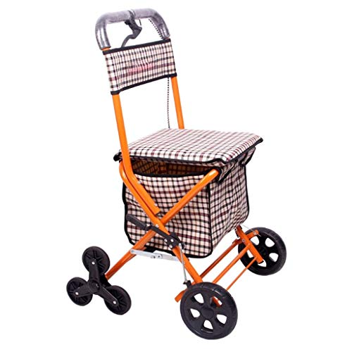 MYDZUS Walker Senioren Travel Assistant Einkaufswagen Klappwagen Roller Assist Stabiler Freizeitsitz Behinderte Zusatzausrüstung (Color : Orange, Size : 91 * 57 * 48cm)