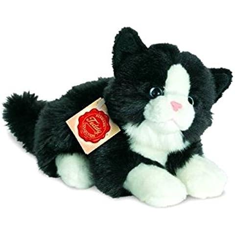 Hermann Teddy Colección–90689–gato de peluche tumbado negro/blanco–20cm