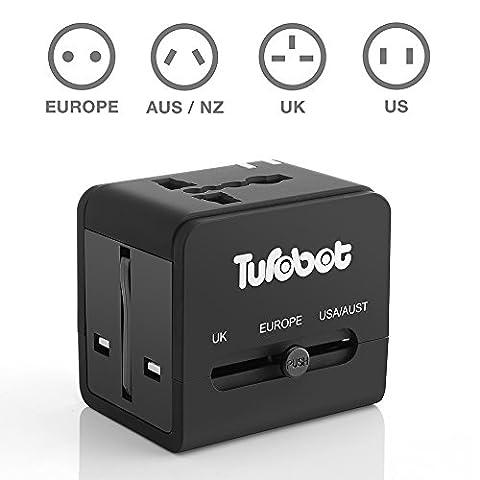 Adaptateur Chargeur Universel de Voyage EtechPower avec 2 prises USB (5V 2.1A), Adaptateur chargeur de voyage tout-en-un multi-prise EU/US/UK/AU
